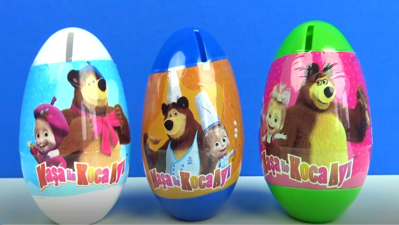Çizgi film oyuncağı Maşa İle Koca Ayı kumbaralı 3 tane Sürpriz Yumurtası açıyoruz.