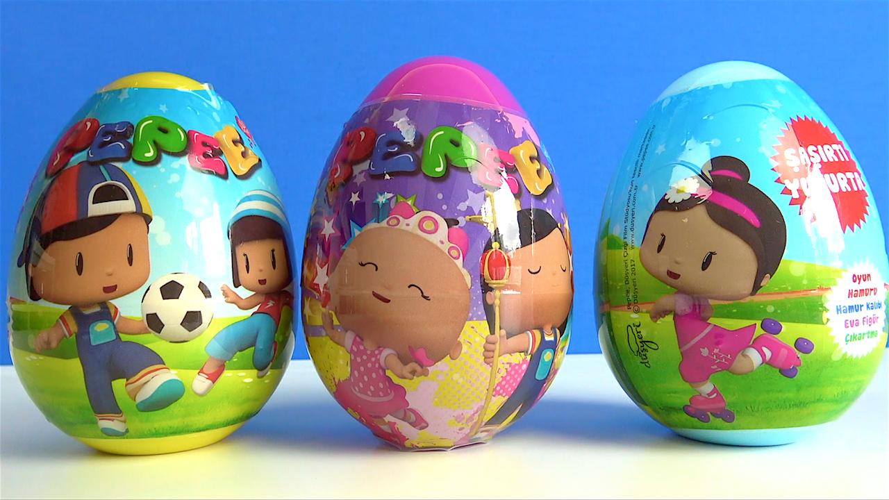 3 Pepee şaşırtı sürpriz yumurta açıyoruz-kırmızı balık şarkısı ile Pepee akrostiş şiir söylüyoruz