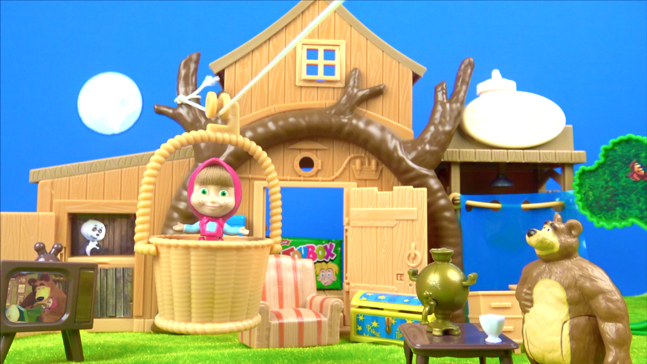Maşa ile Koca Ayı Dev 2 Katlı Ağaç Evde Gizli Toybox Sürpriz Oyuncak Açtı