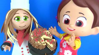 Niloya Mete Tospik Heidi ve Peter pasta yiyor.-Niloya ve Pastacı Bebek Fofuchas Sandra yapıyoruz.